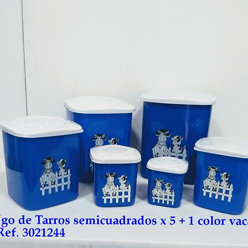 Juego De Tarro Semicuadrado X 5+1 Color Vaca