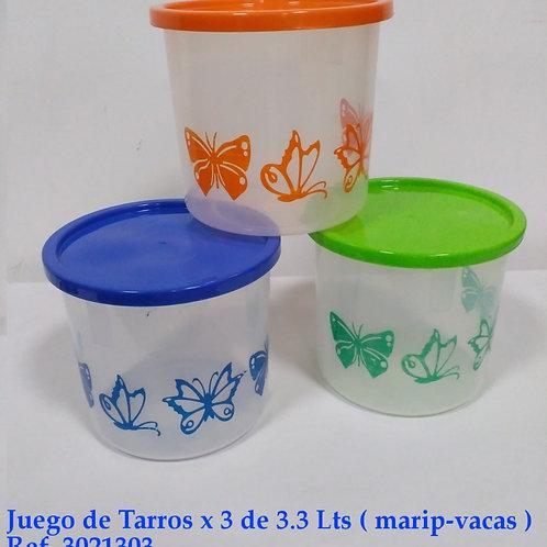 Juego Tarros X 3 De 3 3 Lt (Mariposas-Vacas)