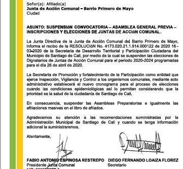 Suspensión convocatoria a Asamblea General previa, inscripciones y elecciones de JAC's