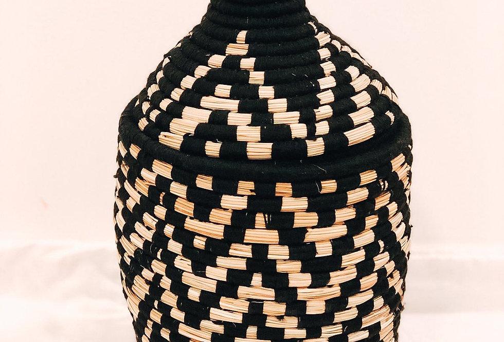 Handwoven Black Straw Basket