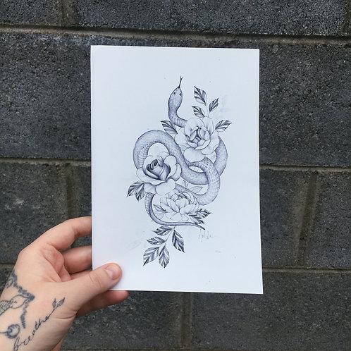 Snake & Floral Print