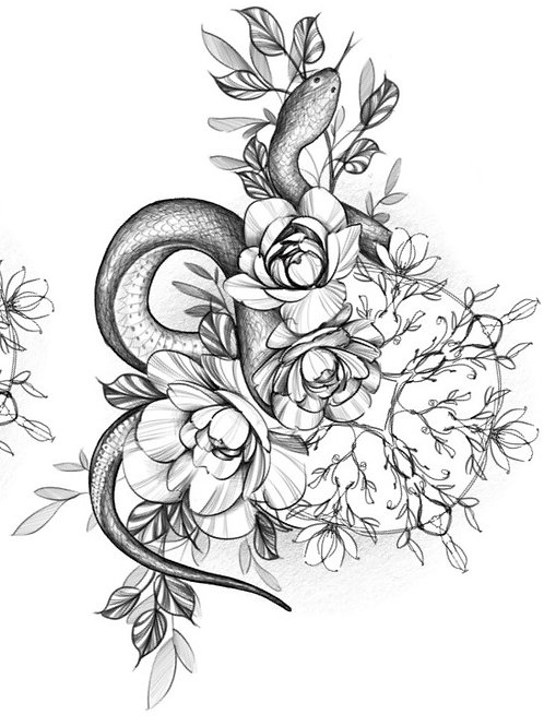 Snake & Floral Mandala