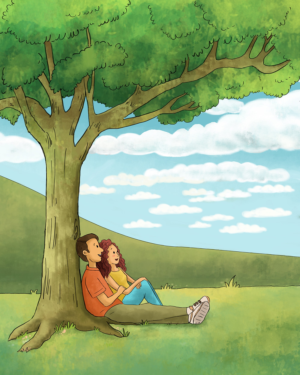 """Front cover illustration for """"You, Me, and a Tree"""", by Nejla Shojaie"""