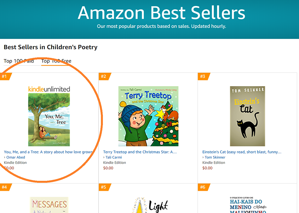 """You, Me, and a Tree"" #1 on Amazon's list of Children's Poetry best sellers"