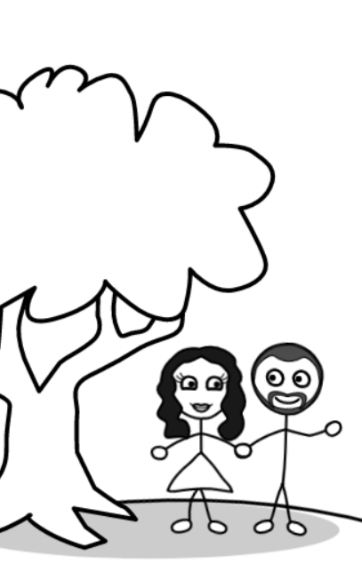 """black and white cover sketch for """"You, Me, and a Tree"""""""