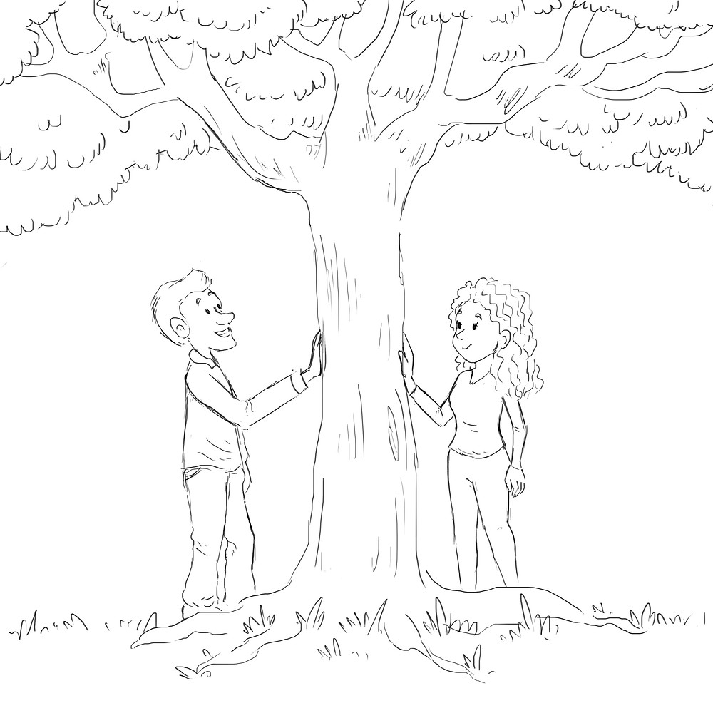 """Nejla's sketch for """"You, Me, and a Tree"""""""