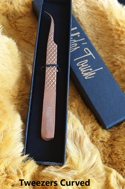 Rose Gold Tweezers Curved MTT03