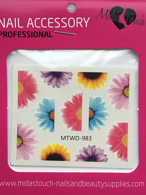 Coloured Sunflower Water Decal MTWD-983