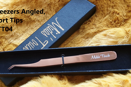 Rose Gold Tweezers Angled Short Tips MTT04