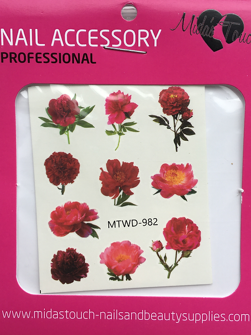 Red Roses water Decal MTWD-982