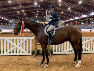 Peyton and Vinnie claiming Reserve Champion at a SWVHJA Horse Show