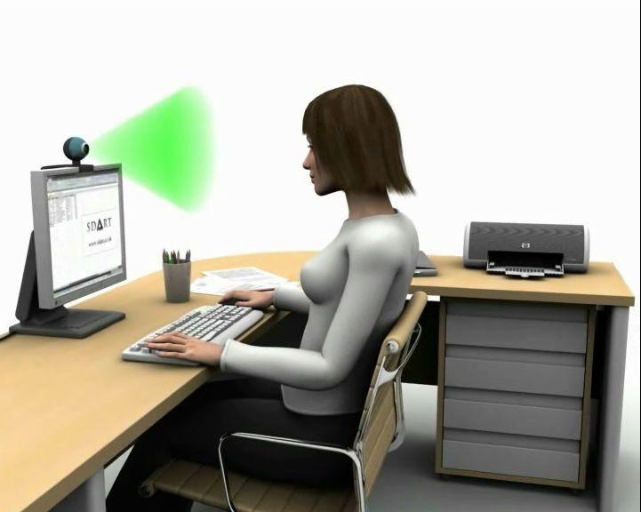 Good sitting posture at computer