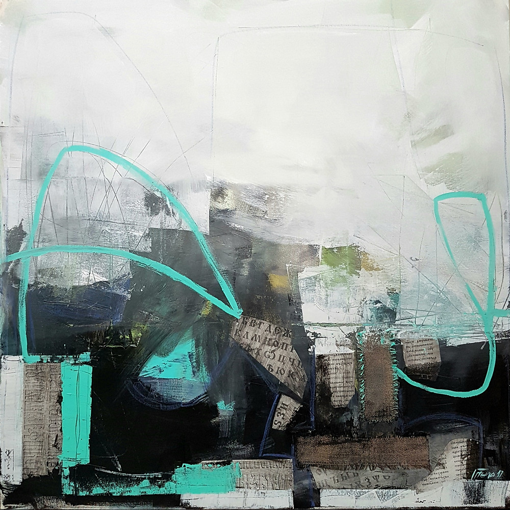 """Invisible Image, Mixed media on canvas 48""""x48"""""""