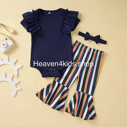 Stripe pants with navy blue shirt set
