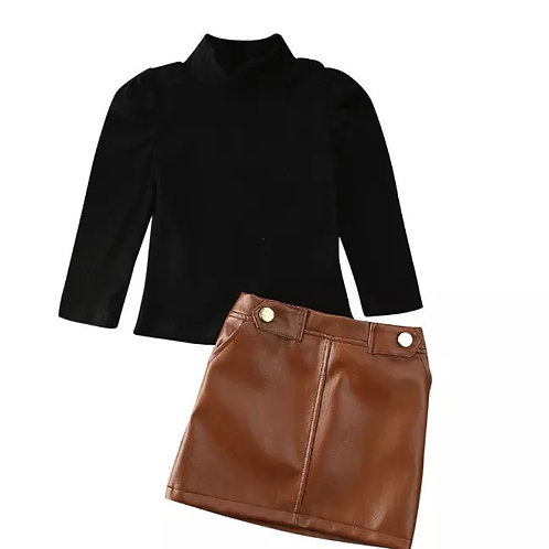 Leather skirt with black turtle neck