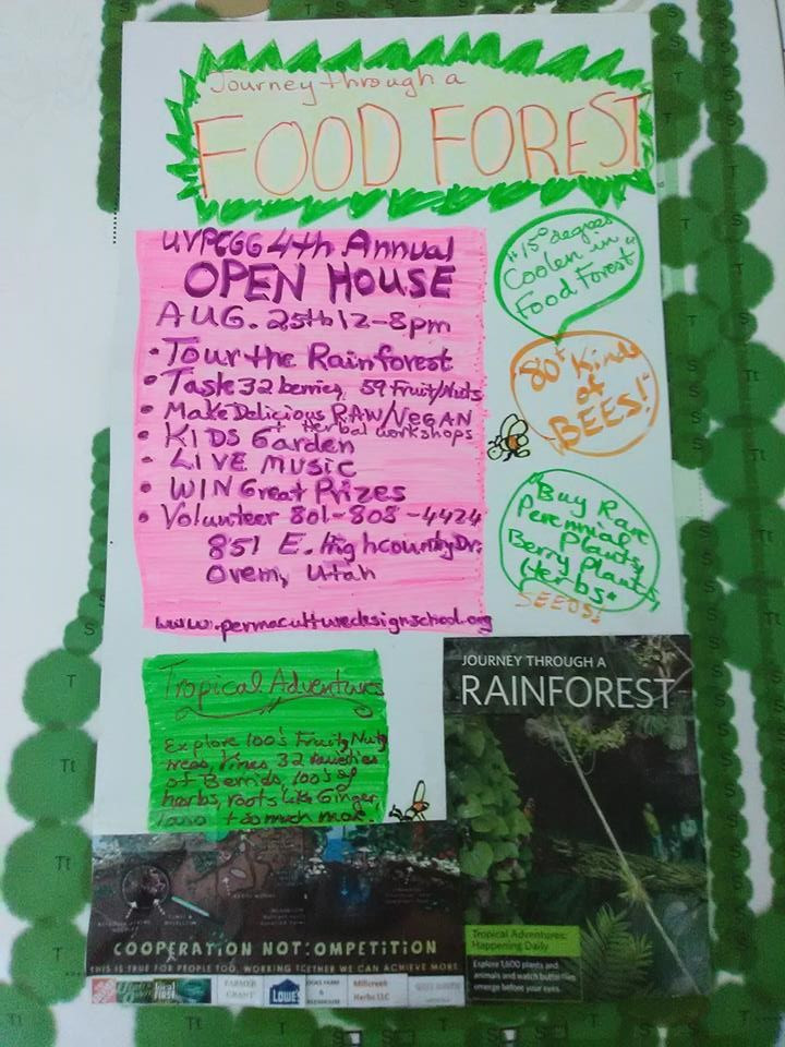 Its our 4th Annual Open House and Flyer is hand made, and so our Herbal and raw Vegan Cooking workshops, Irish live Music concert at 5pm, and for 12 lucky people a 2 hour educational tour of the Food Forest & Tastings, Best Recipe from your garden & Biggest Tomatoe contests, Great Raffle Prizes, Into To Permaculture Free course. Preregister for discounted ticket for Food Forest Tour by donating $25 on our Donate Button on bottom of each page. Only 12 spots left.
