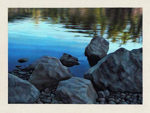 American River Rocks Original Painting