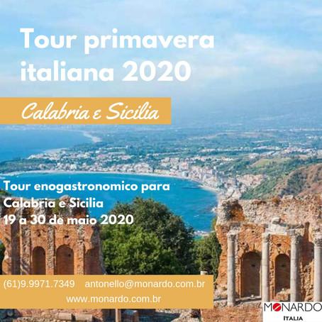 Incrível Tour enogastronômico - Primavera Italiana Calabria e Sicília em Maio 2020