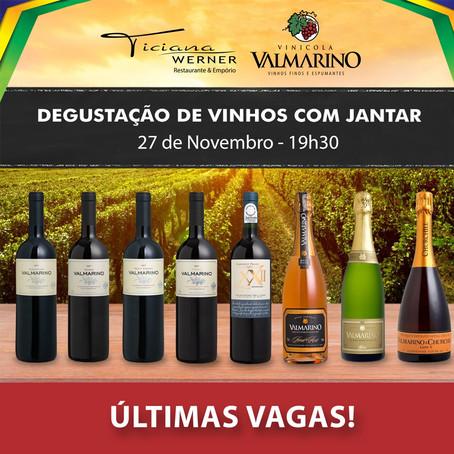 Ticiana Werner promove Degustação de vinhos Valmarino seguida de jantar.