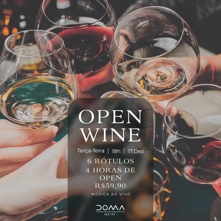 "Doma Rooftop apresenta ""Open Wine"" - toda terça a partir das 18h"