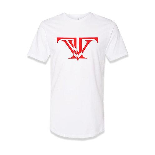 TV Brand Logo T-shirt round bottom: White/Red