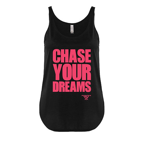 Chase Your Dreams tank top: red print