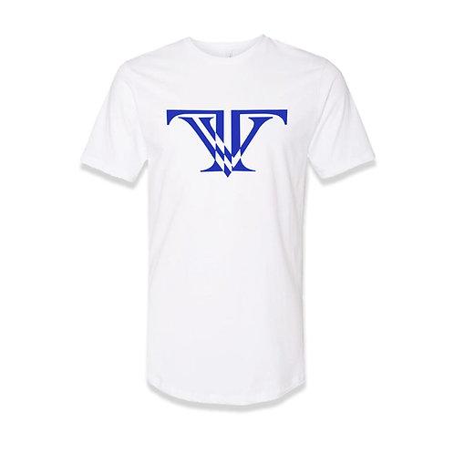 TV Brand Logo T-shirt round bottom: White