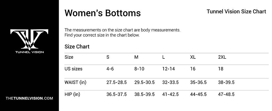 Women's Bottoms_Size Chart_tunnel vision