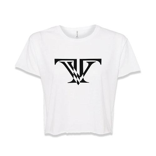 TV Brand Logo Crop-top: White