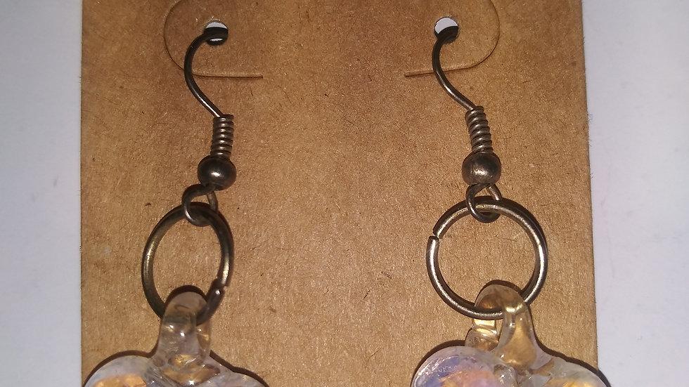 Glass blown heart earrings