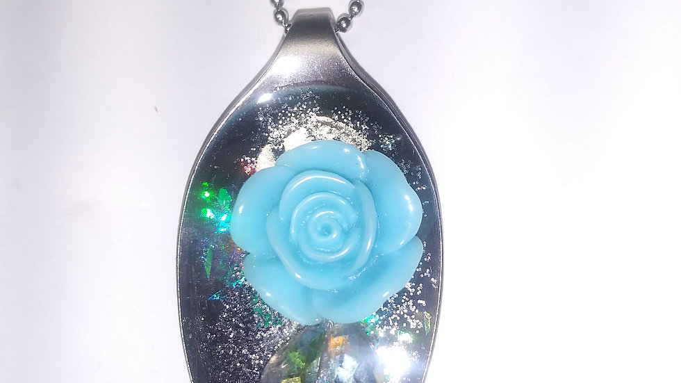Blue rose spoon necklace