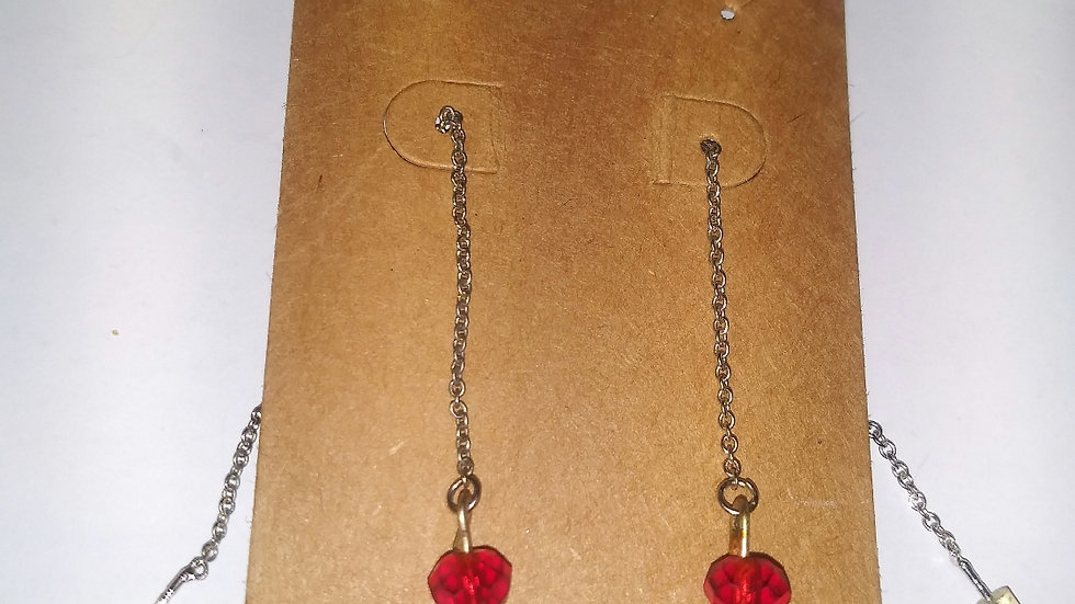 Red and clear lace earrings