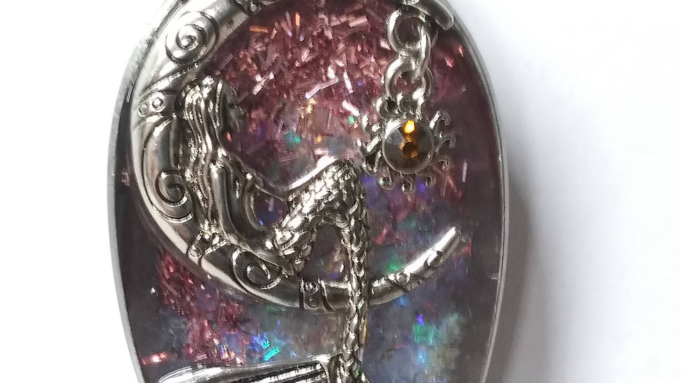 Mermaid sitting on the moon necklace