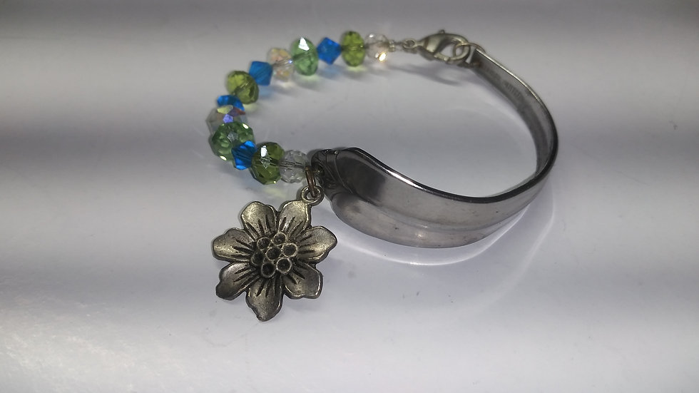 Green and blue spoon bracelet