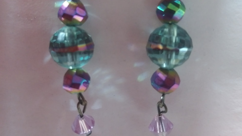 Iridescent blue and purple earrings