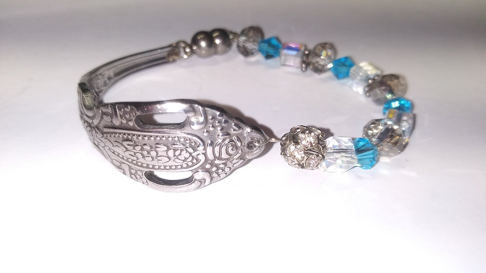 Blue and Smokey crystal spoon bracelet