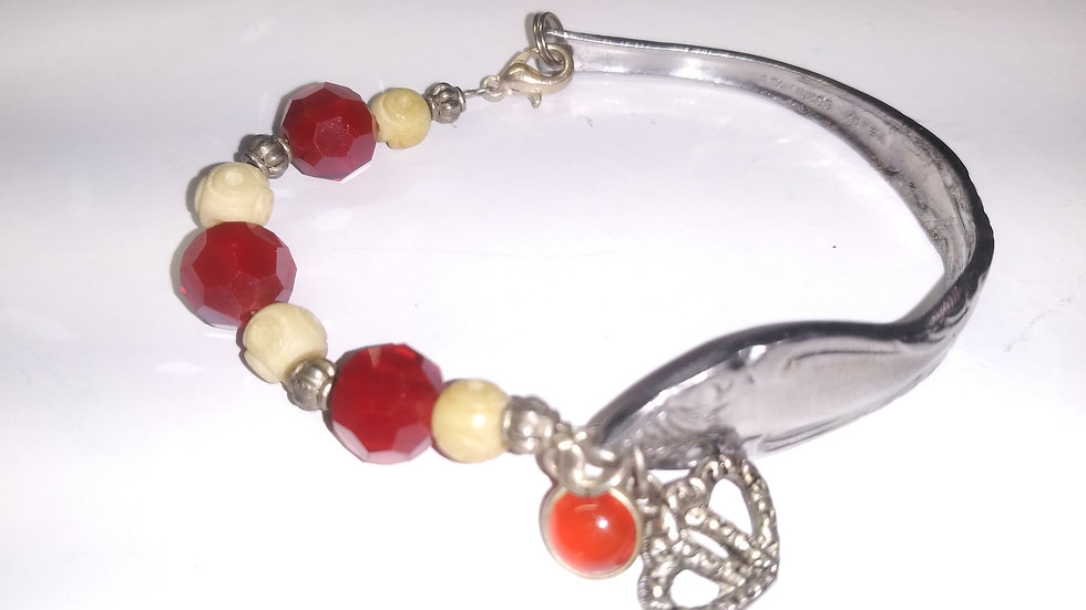 Ivory and red spoon bracelet