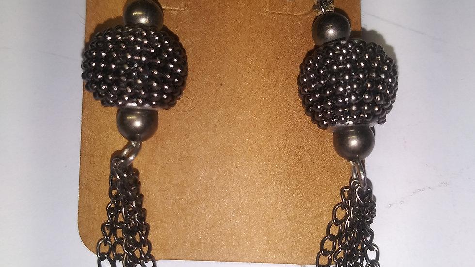 Gun metal chained earings