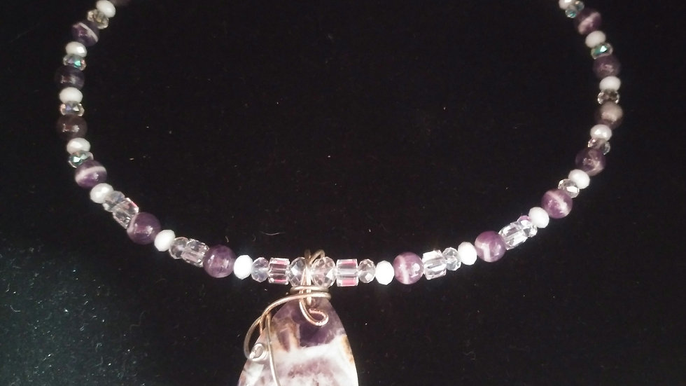 Genuine amethyst and crystal necklace