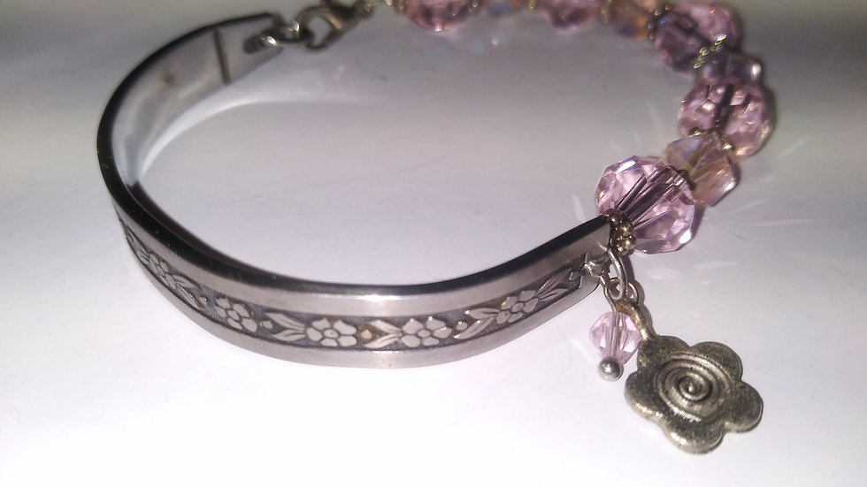 Pink crystal spoon bracelet