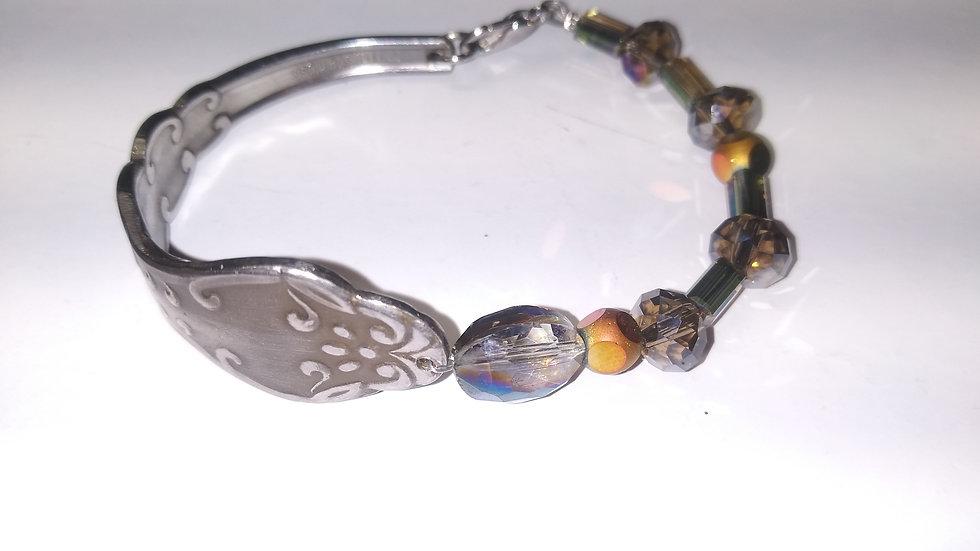 Copper and Smokey quartz spoon btacelet