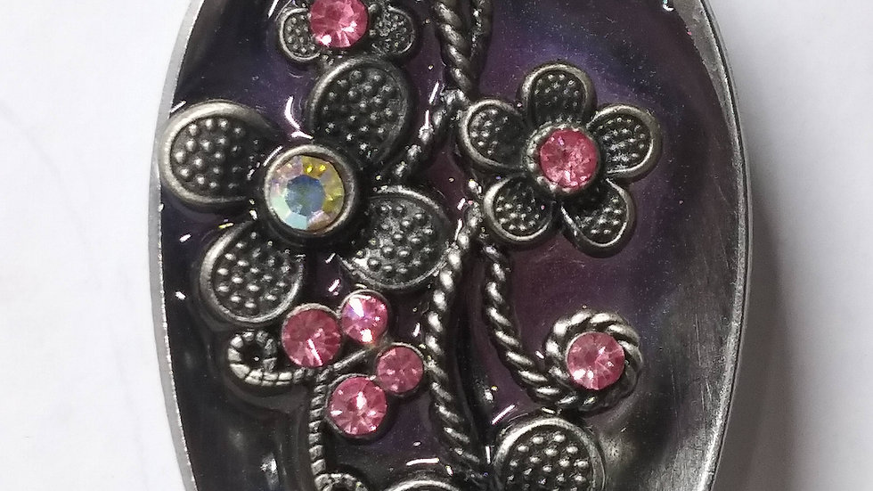 Pink flower spoon necklace