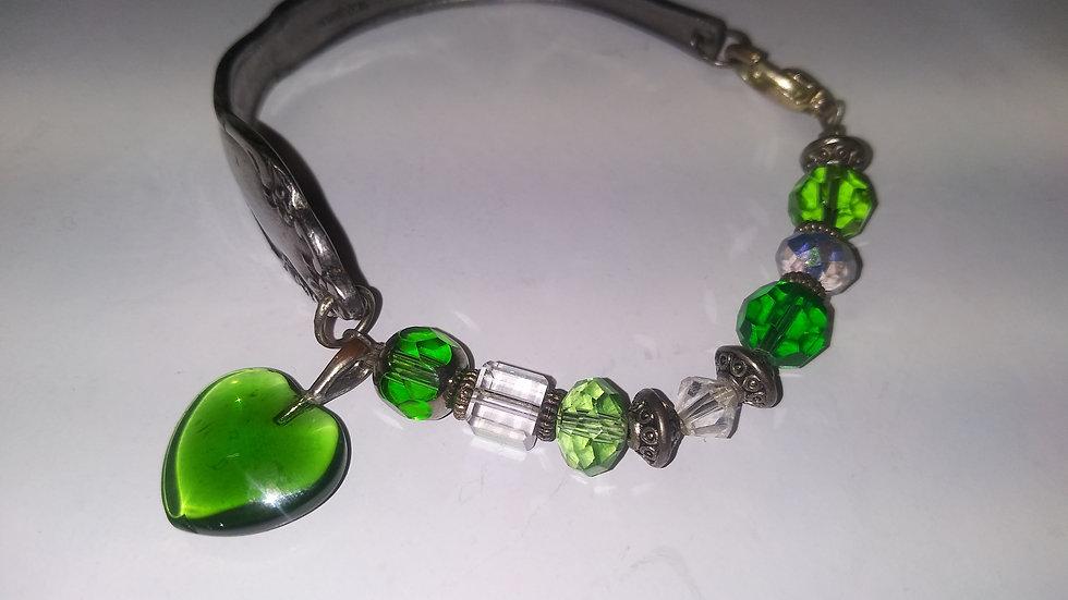 Green crystal spoon bracelet
