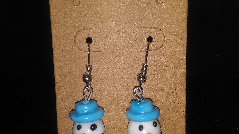 Glass blown snowmen earrings