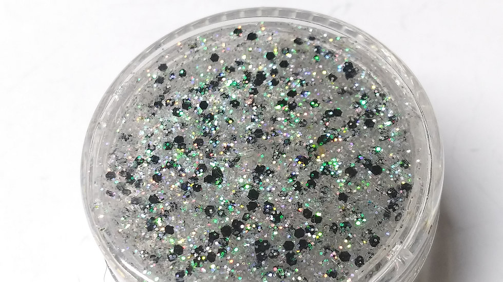 Black and iridescent body glitter