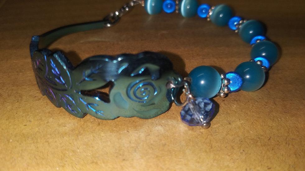 Blue rose spoon bracelet