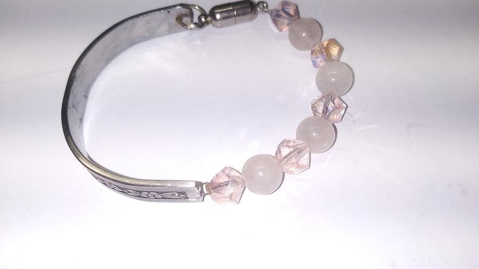 Rose quartz spoon bracelet