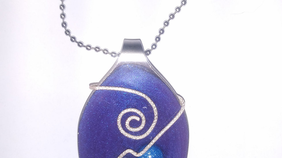Purple wire wrapped spoon nacklace