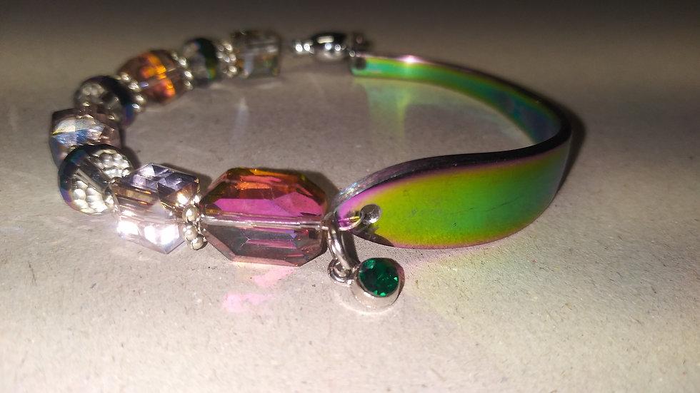 Iridescent spoon bracelet