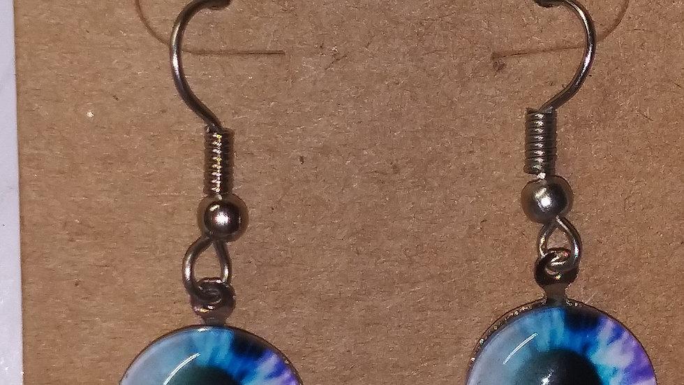 Blue and purple eye earrings
